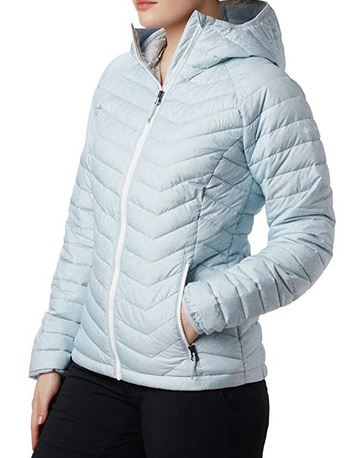 Columbia Powder Lite - Chaqueta impermeable para mujer con capucha